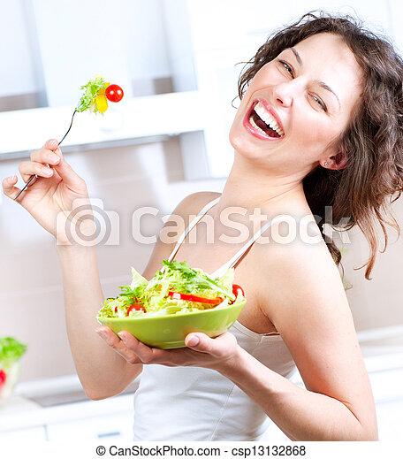 mujer que come, ensalada, sano, joven, diet., vegetal - csp13132868