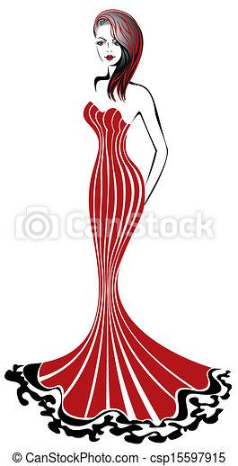 Mujer en rojo - csp15597915