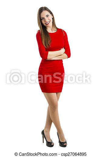 mujer, rojo - csp27064895