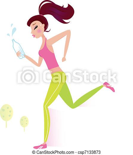 Correr o correr a una mujer sana con una botella de agua - csp7133873