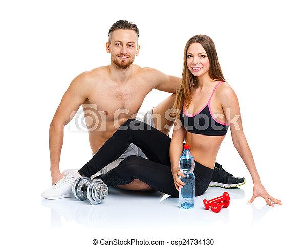 mujer se sentar, atlético, pareja, después, -, w, ejercicio salud, hombre - csp24734130
