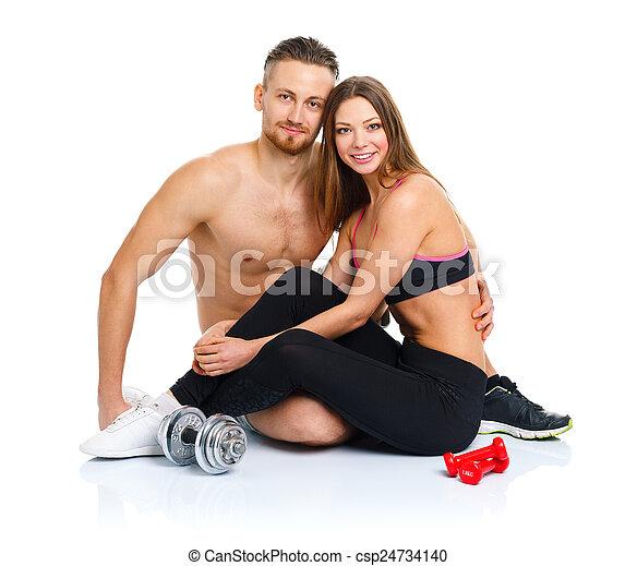 mujer se sentar, atlético, pareja, después, -, w, ejercicio salud, hombre - csp24734140