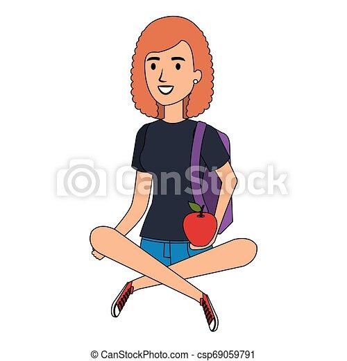 Mujer estudiante sentada en el personaje avatar del suelo - csp69059791