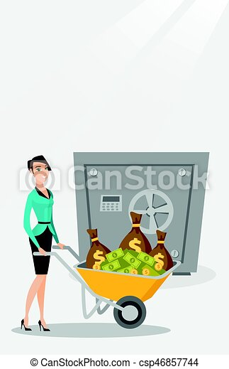 Una mujer de negocios depositando dinero en un banco seguro. - csp46857744
