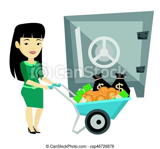 Una mujer de negocios depositando dinero en un banco seguro. - csp46726876