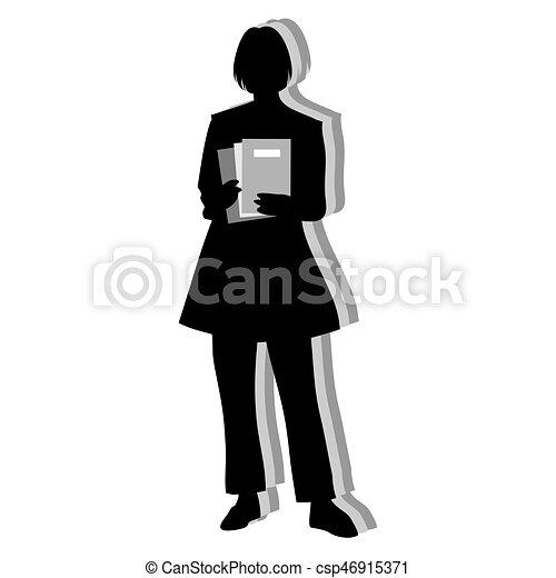 Silueta de mujer secretaria aislada - csp46915371