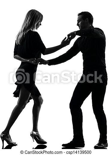 Un par de bailarinas bailando salsa de rock - csp14139500