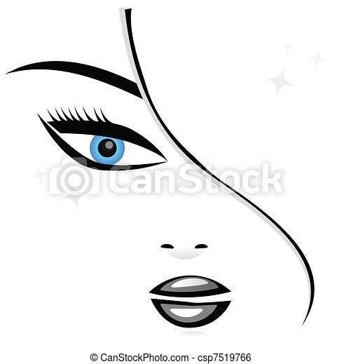 Mujer cara silueta - csp7519766