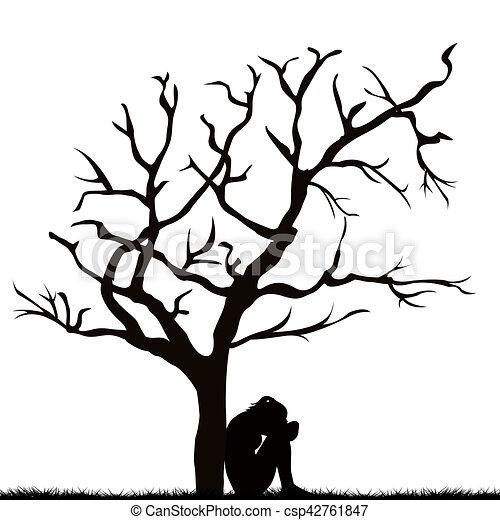 Dibujo de mujer silueta deshojado rbol triste debajo