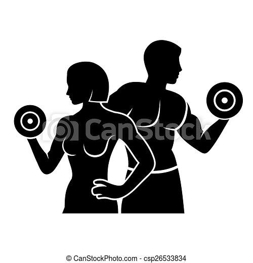 Hombre y mujer fitness silueta vector logo icono - csp26533834