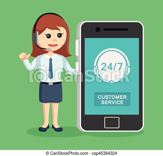 Llama a la mujer del centro con smartphone - csp45364324