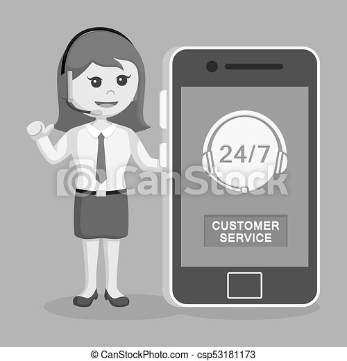 Llama a la mujer del centro con smartphone - csp53181173