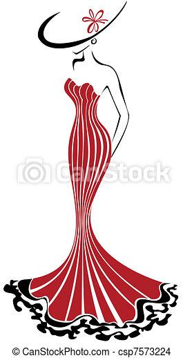 Mujer con sombrero - csp7573224