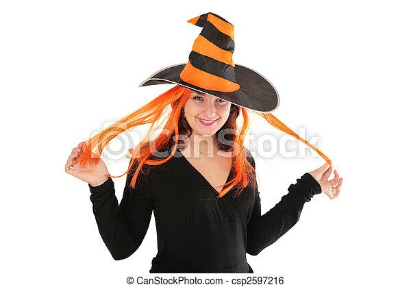 Una joven con sombrero - csp2597216