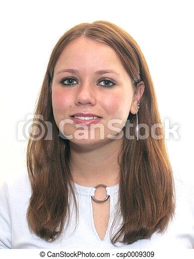 Una joven sonriente - csp0009309