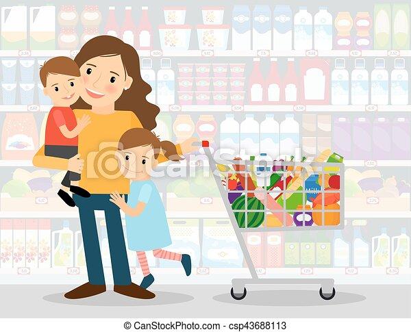 Mujer en el supermercado con niños - csp43688113