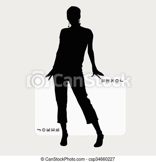 Mujer con ilustración de cartas - csp34660227