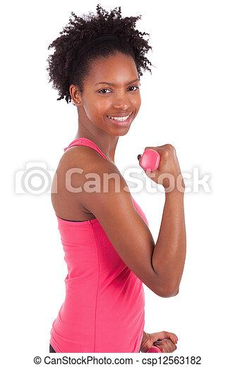 mujer, trabajando, pesas libres, condición física, retrato, afuera - csp12563182