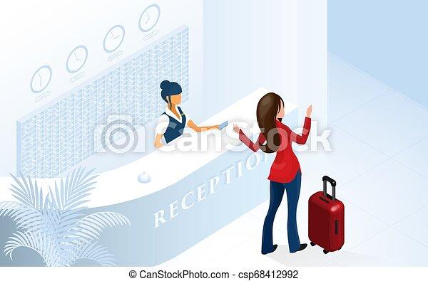 Una turista que llega al lobby del hotel moderno - csp68412992