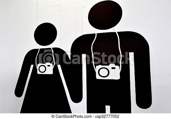 mujer, turista, pareja, fotógrafos, viaje, hombre - csp32777052