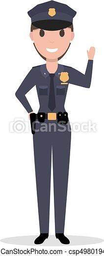 Una mujer de dibujos animados policía de uniforme - csp49801942
