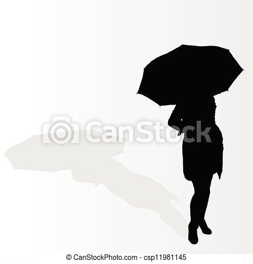mujer, vector, paraguas, ilustración - csp11981145