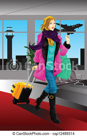 Mujer viajera - csp12489314