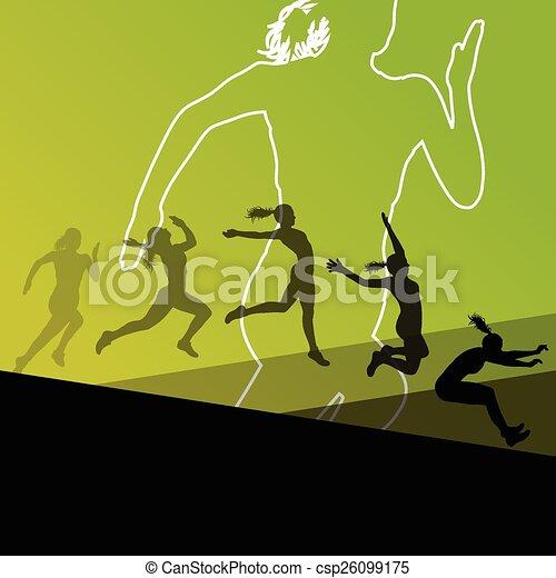 Chica mujer, triple salto largo volando - csp26099175