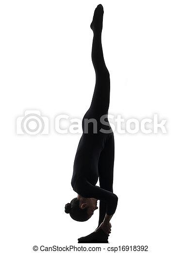mujer, yoga, gimnástico, ejercitar, silueta, contorsionista - csp16918392