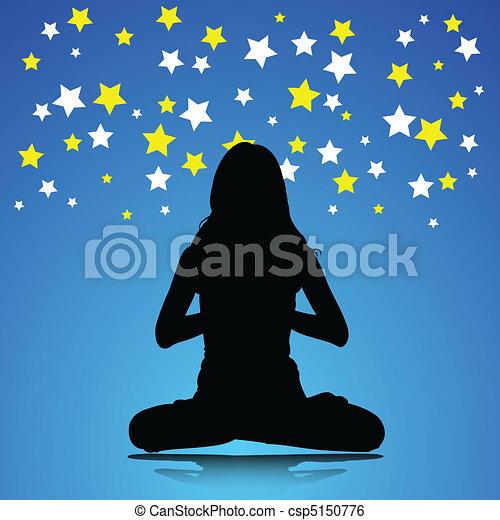 Ilustración de mujer Yoga - csp5150776