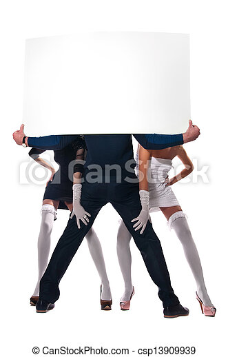 mujeres, dos, hombre - csp13909939