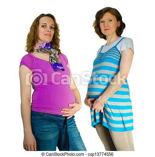 mujeres, estudio, dos, embarazada - csp13774556