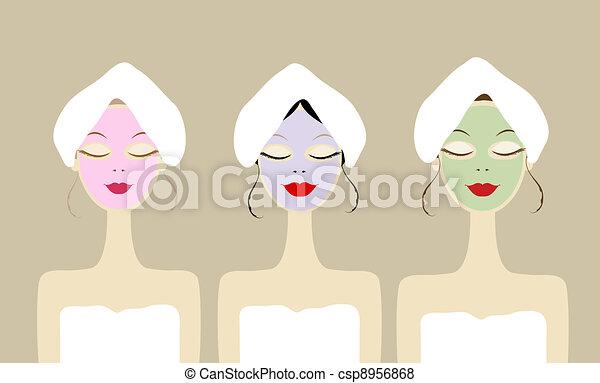 Mujeres guapas con máscaras cosméticas en las caras - csp8956868