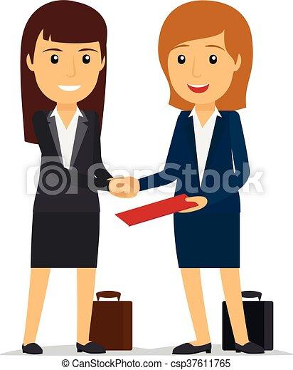 Mujeres de negocios estrechando la mano - csp37611765