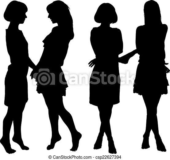 Silueta de dos mujeres esbeltas - csp22627394