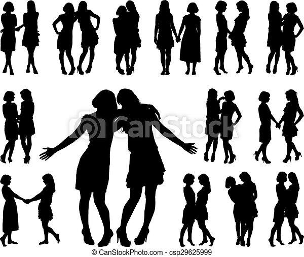 Silueta de dos mujeres esbeltas - csp29625999