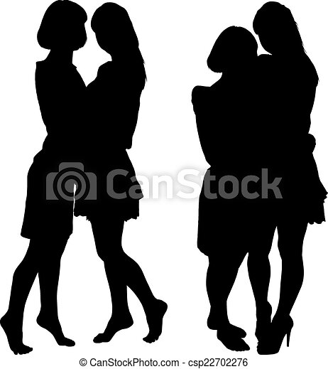 Silueta de dos mujeres esbeltas - csp22702276