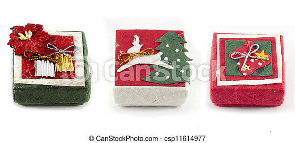 Mulberry Paper Christmas gift box with Hand made. - csp11614977
