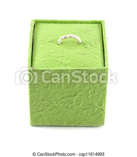 Mulberry Paper Green Box Hand made. - csp11614993