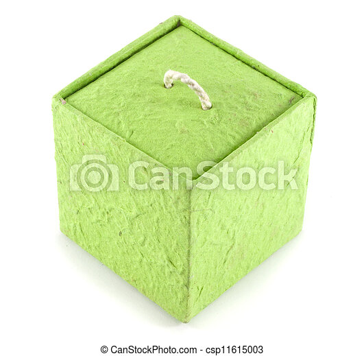 Mulberry Paper Green Box Hand made. - csp11615003
