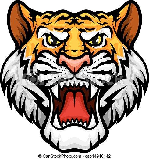mule, anføreren, tiger, mascot, vektor, roaring, ikon - csp44940142
