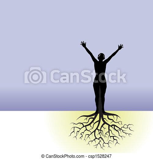 mulher, árvore, raizes - csp1528247