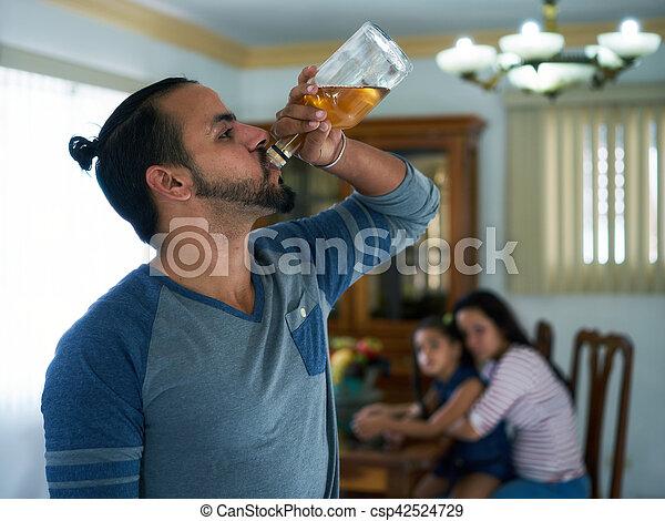 mulher, alcoólico, criança, desesperado, edições sociais, homem - csp42524729