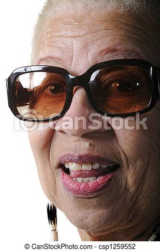 mulher americana, idoso, africano - csp1259552