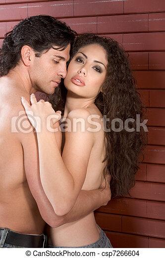 mulher, amor, jovem, pelado, beijando, homem - csp7266604