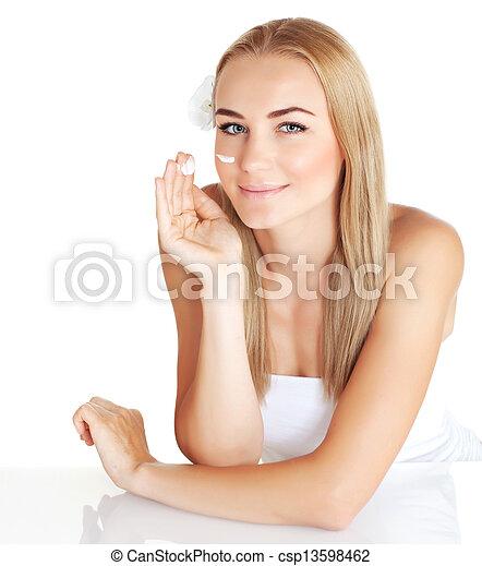 mulher, aplique, ruga, creme, anti - csp13598462