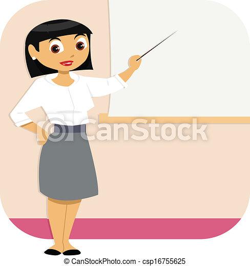 mulher, apresentação, negócio - csp16755625