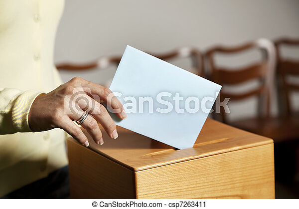 mulher, barraca, votando - csp7263411
