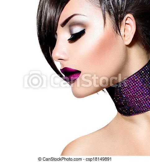 mulher, beleza, girl., moda, deslumbrante, retrato - csp18149891