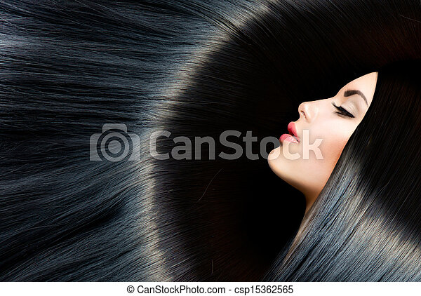 mulher, beleza, saudável, longo, morena, pretas, hair. - csp15362565